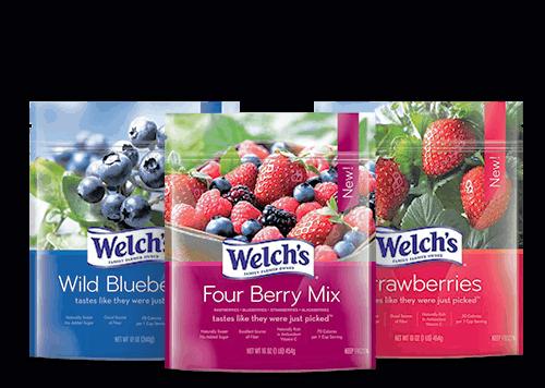 welch's frozen fruit four berry mix wild blueberries strawberries