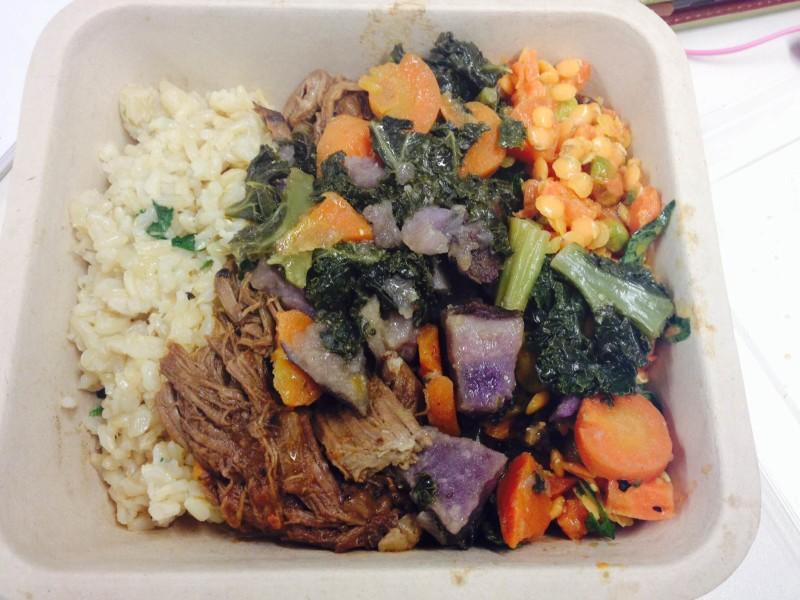 brown rice, braised beef, kale salad & quinoa salad = amaze