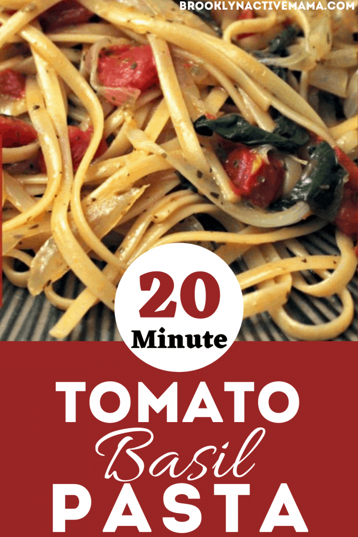 Looking for a super easy vegtarian pasta dish? This delicious tomato basil pasta dish can be ready on the table in 20 minutes.