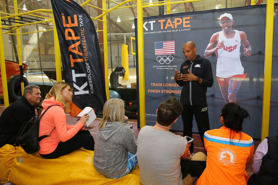 Kerri Walsh Jennings, Meb Keflezighi, Kerri Strug, Tucker Dupree Russell Schleiden, KT Tape CMO, Gregg Venner KT Tape CEO during a Pree Event at Chelsea Piers on March 22, 2016 in New York City. *** Local Caption *** Kerri Walsh Jennings; Meb Keflezighi; Kerri Strug; Tucker Dupree; Gregg Venner; Russell Schleiden
