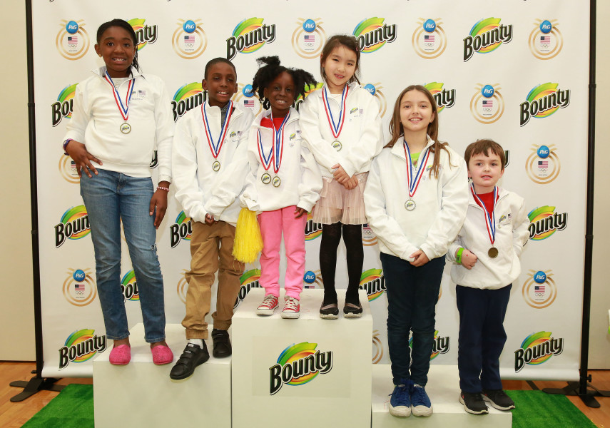 Winners of the ÒBounty 2016 Quicker Picker Upper GamesÓ event showed they could clean up messes in award-winning time Thursday April 28, 2016 in New York. Throughout the Olympic Games, Bounty is encouraging everyone to get involved online by sharing their Òquick tipsÓ for cleaning spills and messes with Bounty in record time. For every #quicktip tweet shared with @Bounty, they will donate $1 to Community Olympic Development Programs. (Photo by Amy Sussman/AP Images for Bounty)