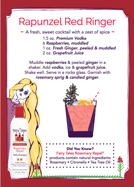 Rapunzel Red Ringer Sweet Cocktail  1.5 oz Premium Vodka 6 Raspberries, muddled 1 oz Fresh Ginger, peeled and muddled 2oz. Grapefruit Juice  Muddle raspberries & peeled ginger in a shaker. Add vodka, ice & grapefruit juice. Shake well. Serve in rocks glass. Garnish with rosemary sprig and candied ginger!