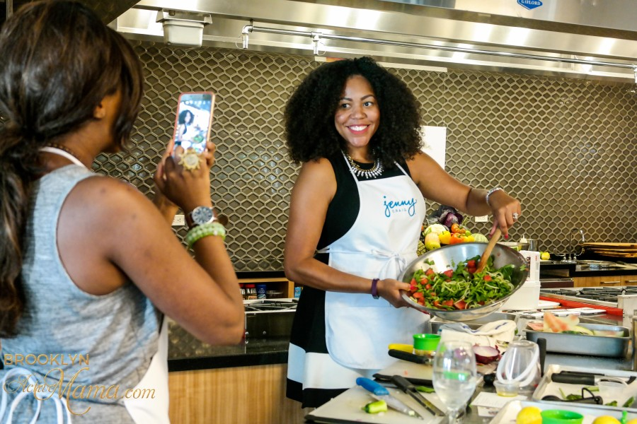 My friend Lia from GetFitDiva.com posing with her freshly made salad ;)