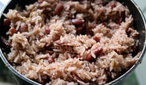 finished Authentic Jamaican Rice And Peas recipe in the pot