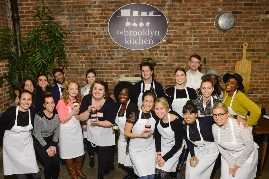 """A """"BOU Friendsgiving"""" cooking class was held at Brooklyn Kitchen on Tuesday, November 7, 2017. Photograph by Casey Kelbaugh"""