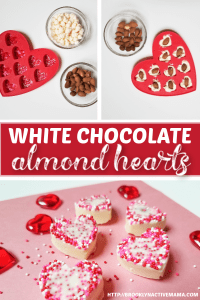 Looking for an easy treat to make for Valentine's day? Check out these adorable white chocolate almond hearts! This Valentine's Day Treat is sure to please! Red, Pink and White sprinkles makes this candy treat so yum! #valentinesday #valentineshearts #vday