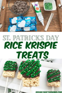 These St. Patrick's Day Rice Krispie treats are so much fun and festive! With only a few ingredients you can make a fun holiday snack! Perfect no bake snack to make with kids for St. Patrick's day and features a fun green icing with green and white sprinkles. #stpatricksday #ricekrispietreats #ricekrispies #stpaddysday