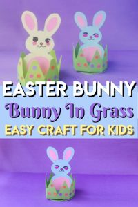 Easy Bunny In Grass Easter DIY Craft - Have some Easter fun with the kids with this easy craft for toddlers and preschoolers. free printable template makes this craft a breeze! #Easter #eastercraft #bunnycraft