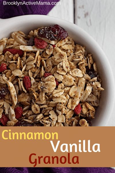 Check out this amazingly tasty Cinnamon Vanilla Granola Recipe! Perfect for any parfait, or easy healthy snack for the kids! #healthyeats #granola