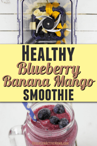 This easy to prepare blueberry banana mango smoothie will start your day with a delicious healthy drink, that will give you energy and keep you going. It's not only good for you, it's tastes good too! #smoothie #healthyeats #yum