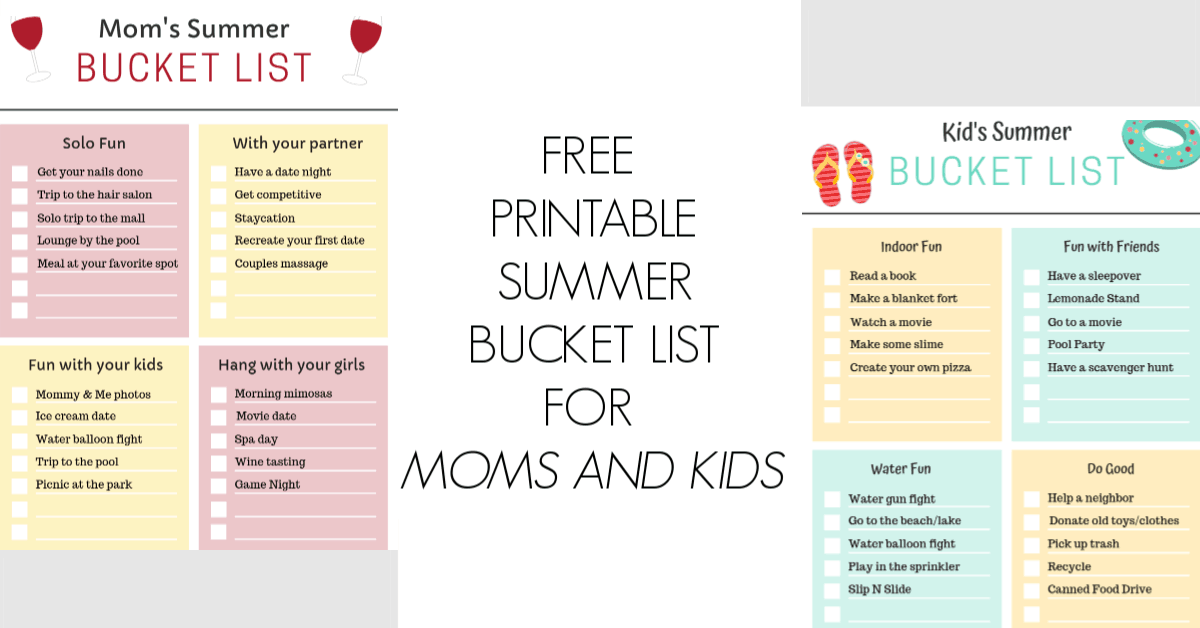 Free Printable Summer Bucket List For Kids And For Moms