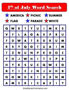 For elementary kids there are many opportunities for fun activities to celebrate the holiday. Here is a free fun and patriotic July 4th Word Search Printable for the kids to enjoy! There are 5 pages of simple red white and blue independence day puzzles. #july4th #4thofjuly #holiday #kidsprintable