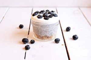 Check out this super easy and healthy blueberry chia pudding recipe with a granola bottom! Plus I'm sharing some must have post workout snacks!