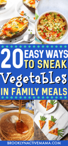 Getting kids to eat their vegetables is not easy! Sometimes you have to be a little bit creative! Here are 20 ways to sneak veggies into family meals. The kids will never know! #kidsmeals #healthyeating #vegetablerecipes