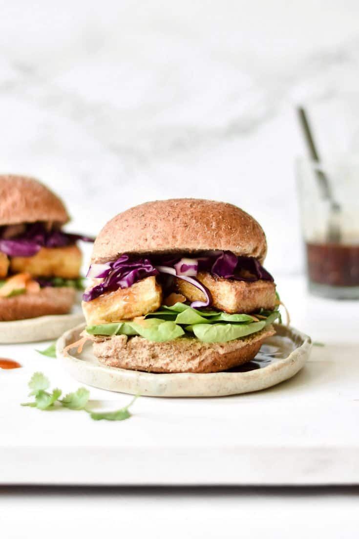 Crispy Tofu Burgers with Rainbow Vegetables