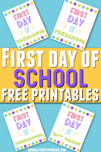 Here are some first day of school printables for every grade including one for homeschoolers and a blank one that you can fill in yourself!