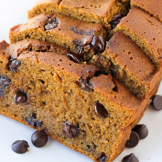 Gluten-Free Pumpkin Chocolate Chip Bread {Maple-Syrup Sweetened, Dairy-Free}