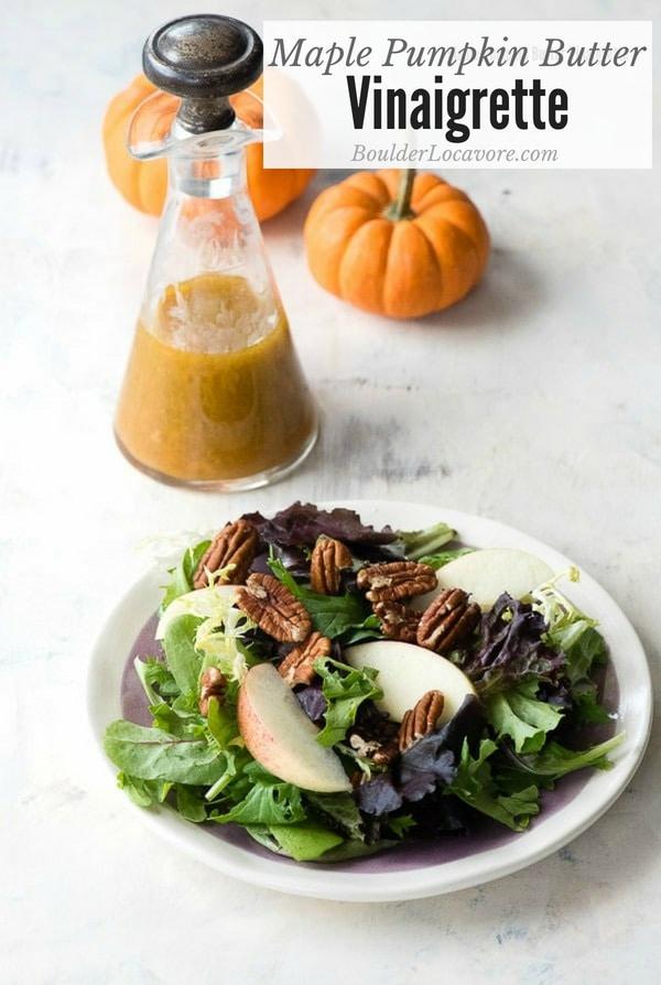 Maple Pumpkin Butter Vinaigrette. Tangy sweet salad dressing