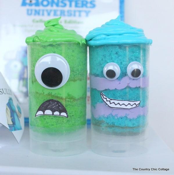 Monsters University Push Pop Cupcakes