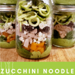 This Zucchini Noodle Salad with chicken recipe is fun to make and put in a mason jar for an easy healthy make ahead lunch for work. Clean eating made super easy with meal prepping. #mealprep #cleaneats