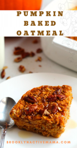 This breakfast pumpkin baked oatmeal recipe is full of fall flavors and perfect for those cool autumn mornings! Vegan and gluten free option included! #pumpkinrecipes #bakedoatmeal #fallrecipes