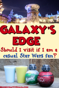 Not sure if you should visit Star Wars Galaxy's Edge? Here are some reasons you should visit even though you are a casual fan of the movies! #galaxysedge #starwars #disneyworld #disneytips
