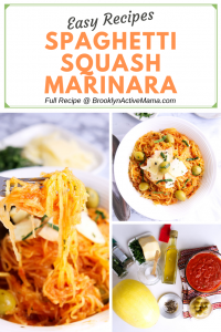 This super easy spaghetti squash marinara recipe is low carb, vegetarian and will be on the table in less than 35 minutes! #lowcarb #squash #vegetarianrecipes