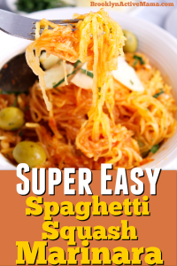 This super easy spaghetti squash marinara recipe is low carb, vegetarian and will be on the table in less than 35 minutes!