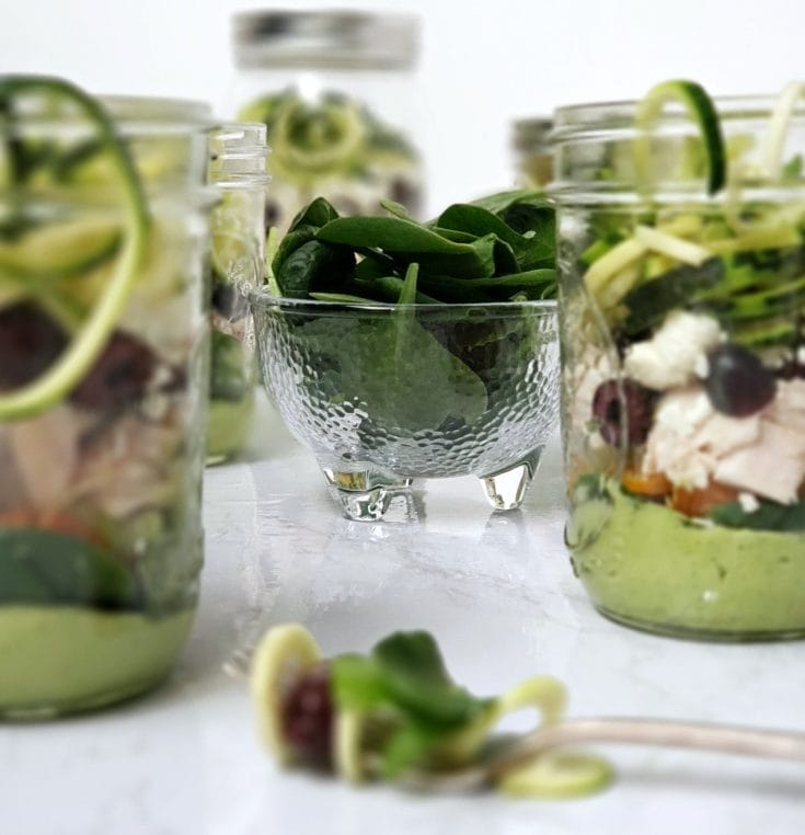 Zucchini Noodle Chicken Salad In A Jar Recipe + How To Eat Healthy At Work