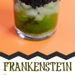 Looking for a fun and easy green halloween cocktail for your party? Check out Frankenstein, a delicious green cocktail perfect for your guests! #HALLOWEEN #halloweencocktails