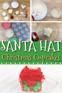 These fun a festive Santa hat Christmas Cupcakes are super fun to make with kids! The recipe features a cocoa buttercream frosting perfect for the season! The red and green inside makes a fun treat for kids! #holidaybaking #christmascupcakes
