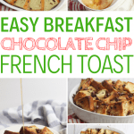This chocolate chip french toast bake will be the star of every family breakfast. Great for family gatherings, this yummy recipe is sure to please! This casserole is easy to make and delicious too! #frenchtoast #breakfastrecipes #yummyrecipes #chocolatechip
