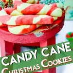 These Christmas sugar candy cane cookies are sure to be the hit of any cookie exchange! They are super easy to make with kids too! The holiday bakers in your life will love this recipe! #christmascookies #candycanecookies #holidaybaking #holidaycookies