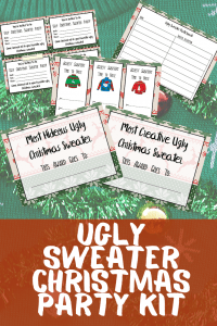 Here are the BEST Ugly Christmas Sweater Party Ideas! I've got everything you need to know including outfit ideas (DIY and Store bought!) , party decor, food and game ideas. + a free ugly sweater Christmas party invitation printable download!