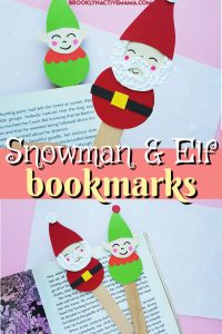 Here is a fun snowman and elf bookmark Christmas craft for you to do with the kids this holiday season! Includes a free printable template to download. This is a fun and easy craft for kids to make to help with their reading! #christmascrafts #christmasfun #holidaycrafts