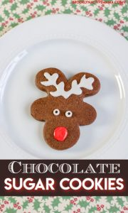 These chocolate sugar cookies look just like gingerbread but without the gingerbread taste! These are so fun to decorate any way you want for the holidays. The kids will love this easy recipe too! Holiday baking has never been so much fun. You can use a variety of cookie cutters including reindeer, Christmas Tree, snowflake, snowmen and so much more. #christmascookies #holidaycookies #reindeercookies #holidaybaking