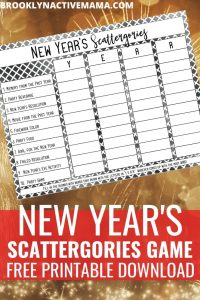 Ring in the New Year with some Holiday Family game night fun! Download this free New Year's Scattergories printable and learn more about each other! #newyearsgame #newyearseve #newyearsfun