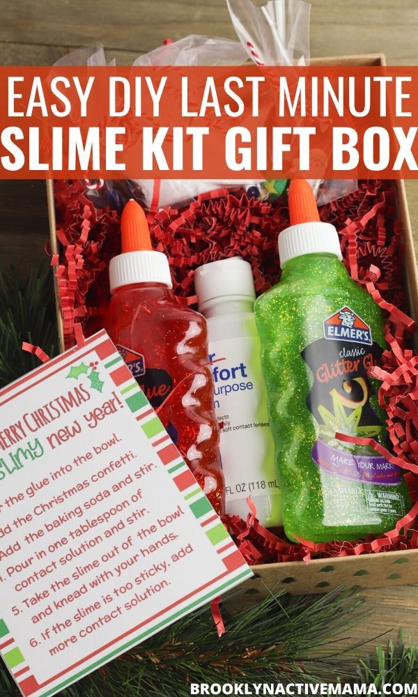 This DIY Slime Maker Box Craft can be a great activity for you and the kids to do, it can also be a really fun gift to make for others too! This is a fantastic last minute birthday gift plus it comes with a free printable gift tag! This sensory gift is perfect to keep the kids busy for hours. #slime #slimecraft #slimegift #slimeobsessed #DIYChristmasgift #giftsforkids