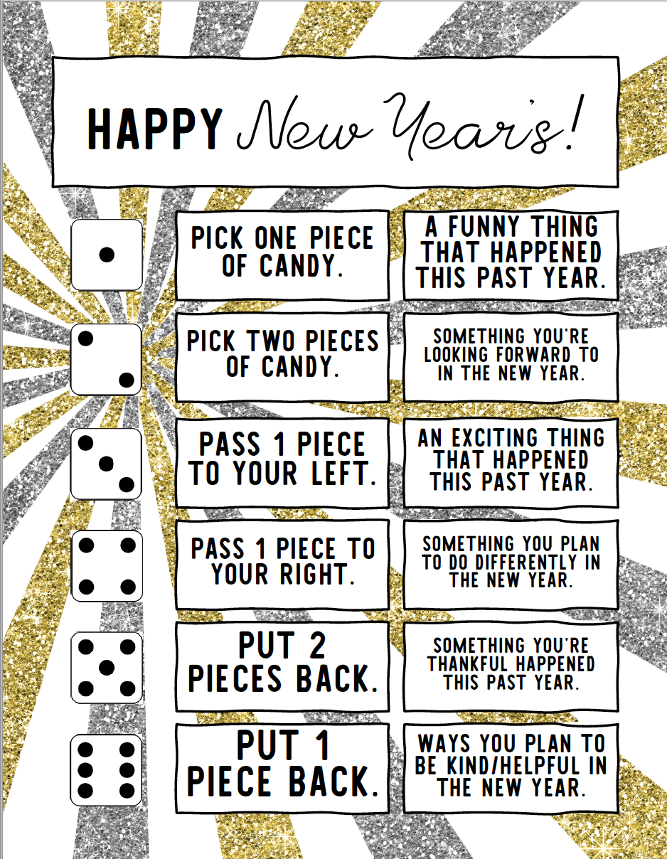 This Candy Dice Game New Years party Activity is a fun way to entertain guests. All you need is 1 bag of candy, a die, and this free printable! The game only needs a bag of candy, 1 die and the free printable. It's great for everyone in the family including Adults and Kids. #NewYears #NewYearsEve #NewYearsDay #NewYearsGames