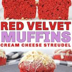 These gluten free red velvet muffins with cream cheese streusel make a stunning addition to any breakfast table on Valentine's Day or any other day! These breakfast muffins are easy to make and the recipe is easy to follow! #redvelvet #redvelvetmuffins