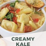 This is a wonderful hearty soup to make on a cool Fall day, or chilly Winter night. It's packed with spices and flavors that blend together for a delicious bowl of healthy goodness. Serve this with some crusty garlic bread, or bread sticks, and you have a great meal everyone will love. #soups #pastasoup #tortellinisoup