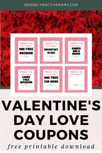"""I've got a fun printable for you today, some Valentine's Day love coupons to use for anyone in your life. The coupons include """"breakfast in bed"""", """"free car wash"""", """"dinner and a movie"""", """"chore free weekend"""" and even a blank one for you to create your own coupon! #valentinesday #freeprintable"""
