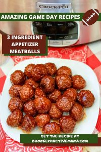 Today I've got some amazing and delicious Three Ingredient Slow Cooker Appetizer Meatballs that are inexpensive and easy to make. They are awesome appetizers for game day, cocktail parties and more! #slowcooker #crockpotrecipes #appetizers