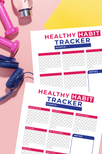 Looking for a way to keep track of all your healthy habits? Here is a free healthy habit tracker printable download that keeps track of your sleep, water, exercise, tech use and more. Plus a free customizable healthy habit tracks for you to make your own! You can print these pages out and use them over and over every month! There is also a notes area for you to takes notes about your progress every month. #healthyliving #healthyhabits #freeprintable #healthandwellness