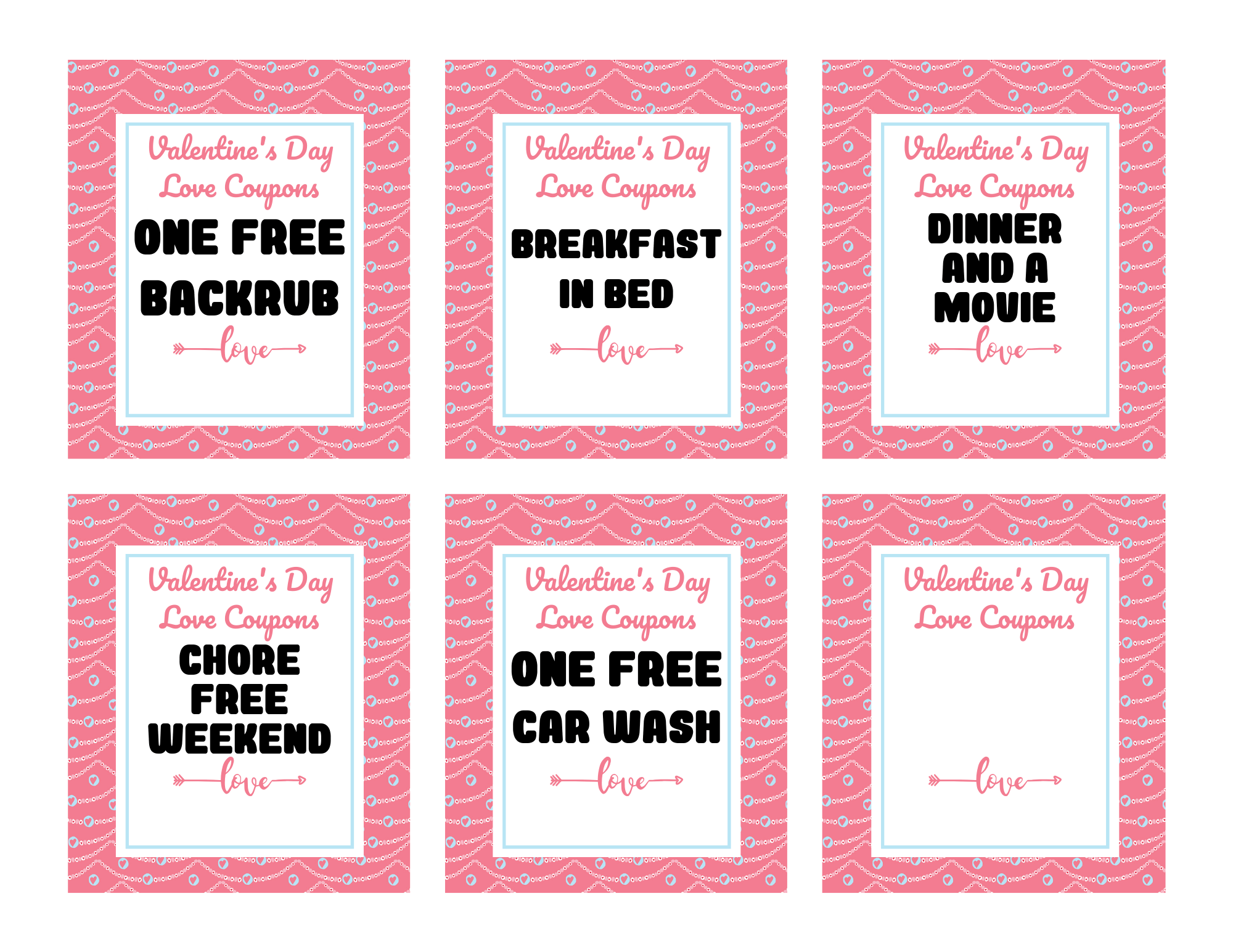 Valentines Day Love Coupons - Free Printable Download