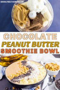 This ChocolatePeanutButterSmoothie Bowl is quite healthy and it's a great way to feed your family breakfast or a treat that is full of nutrients! Full of amazing flavors and you can vary the toppings however you like! You can use granola, banana, coconut, chocolate chips and so much more. #healthyeating #smoothiebowl #breakfast #chocolatepeanutbutter