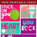 I've got some fun Valentine's Day Printable Cards for the kids to exchange with classmates, with friends, or with anyone! They have awesome vibrant colors and a great to pair with a healthy treat for a classroom snack! These cards include fun and cheeky sayings that are age appropriate and cute for the holiday. #valentinesday #valentinesdaycards #vday #valentinesdayprintables