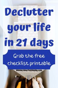 I've got some easy tips to help you declutter your home plus a free challenge printable for you to declutter your home in 21 days (or less!). This includes specific places to declutter in your home, and digitally on social media. Start moving toward a minimalist lifestyle today with this easy and manageable checklist! #freeprintable #decluttering #minimalism #declutteryourhome #getridofstuff