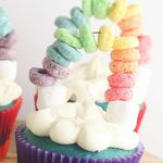 St. Patrick's Day is coming and I have got the most perfect Rainbow St. Patrick's Day Cupcakes for you to make with the kids! These cupcakes not only look beautiful but they are tasty too! Made with different colors on each layer and fruit loops for a fun rainbow on top of clouds. These are perfect for classrooms and other festive party events! #cupcakes #stpaddysday #stpatricksday #luckoftheirish #rainbowcupcakes