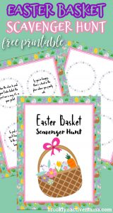 I've got some really easy tips to have an awesome Easter Party For Kids plus a fun free easter scavenger hunt printable! Here is a fun printable for you to use at your party! This Easter Scavenger hunt printable includes clues that will work for any home. Five pages includes cover, 3 pages of clue cards to cut out (12 total) and one page of blank cards to write your own clues!
